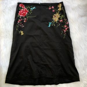 Anthropologie Skirts - Anthro- Odille Floral Embroidered A-line Skirt